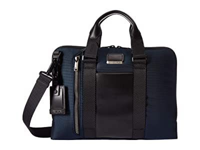 Tumi Alpha Bravo Aviano Leather Slim Brief (Navy) Briefcase Bags