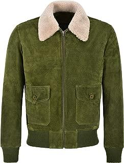 Men Bomber Suede Jacket Olive Fur Collar Pilot Harrington TOP Gun Leather Jacket