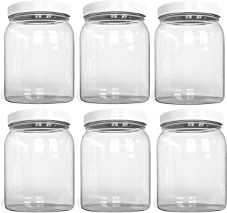 ½ Half Gallon PLASTIC Jars, Wide Mouth Jar, Clear, with Airtight Lined Fresh Seal Lid, Shatter-Proof Container Food Storage Safe PET 1 BPA Free 2 Quart 64 oz Canning, Great for Storing Snacks (6)