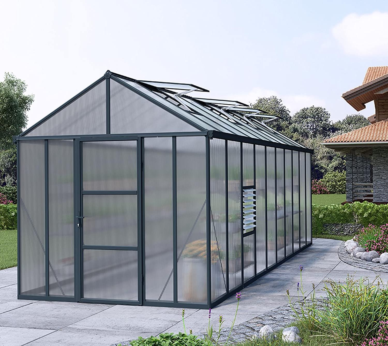 Palram 702210 8 x 20 ft Glory Greenhouse  Grey