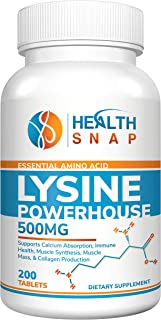 L-Lysine Powerhouse High-Potency Essential Amino Acid Nutrition Supplement - Immune & Muscle Health - Healthy Hair Skin and Nails Vitamins - Collagen & Muscle Mass Growth - Non-GMO, 500mg, 200 Tablets