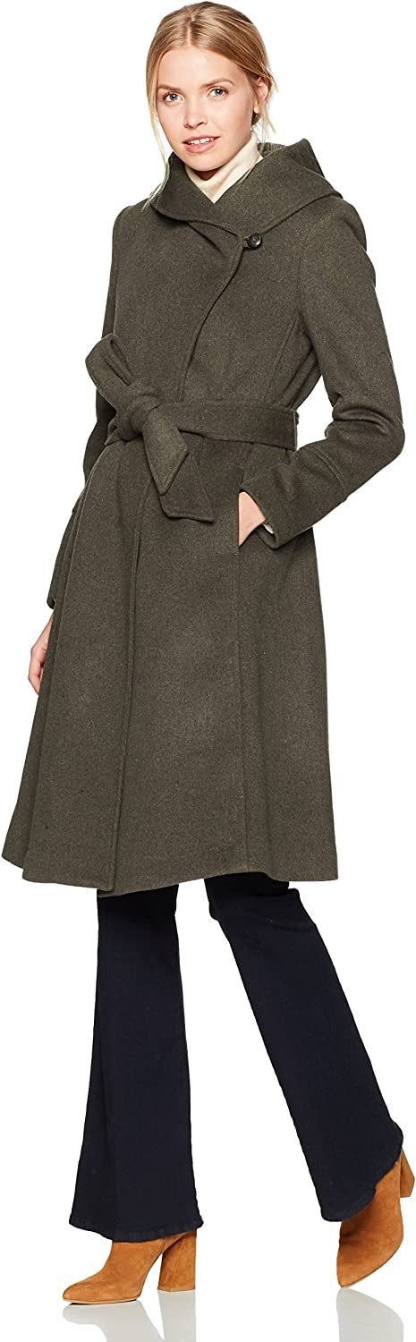 Cole Haan Womens Luxury Wool Asymmetrical Coat with Oversized Shawl Collar Wool Coats