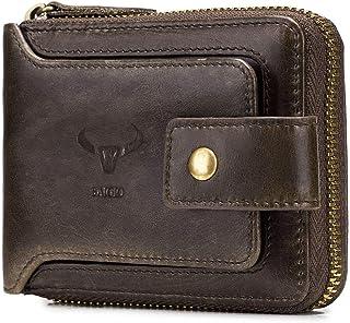 BAIGIO RFID Bifold Men's Cowhide Leather Zip Around Wallet Vintage Travel Multi Card Holder Purse