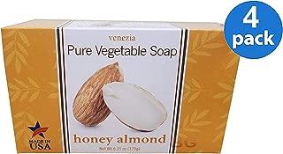 Venezia Soapworks Pure Vegetable Soap, Honey Almond, 7 Oz (Pack of 4)