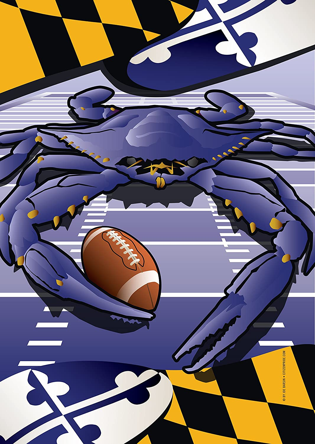 Ravens Sports Crab of Baltimore House Flag by Joe Barsin 28 x 40-Inch Decorative USA-Produced