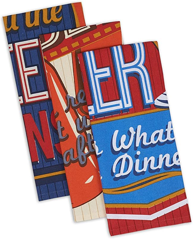 DII Cotton Retro Beer Dish Towels 18 X 28 Set Of 3 Decorative Oversized Kitchen Towels For Everyday Cooking And Baking