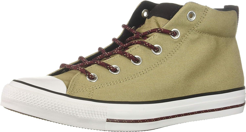 Converse Men's Chuck Taylor All Star Street Mid Sneaker, Khaki Black White, 5 M US