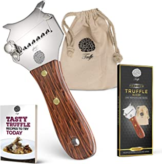 5☆ Truffle Slicer with Premium Glossed Rosewood Handle. Includes Chic Fabric Bag, Recipe E-Book + User Guide. Our Chocolate Shaver Also Shaves Cheese, Garlic & Veg! Stainless Steel & Adjustable Blade