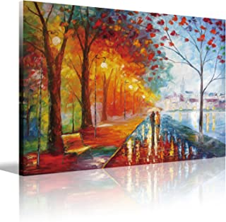 """Eatco HD Art Romantic Gift Wooden Framed HD Prints on Canvas Art""""Lovers Under The one Umbrella"""" Palette Knife Painting,Bla..."""