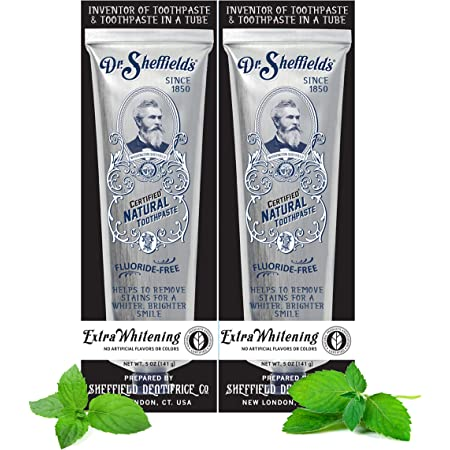 Dr. Sheffield's Certified Natural Toothpaste (Extra-Whitening) - Great Tasting, Fluoride Free Toothpaste/Freshen Your Breath, Whiten Your Teeth, Reduce Plaque (2-Pack)