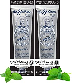 Dr. Sheffield's Certified Natural Toothpaste (Extra-Whitening) - Great Tasting, Fluoride Free Toothpaste/Freshen Your Brea...