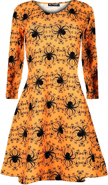 Womens Ladies Halloween Costume Swing Dress Skeleton Pumpkin Smock Mini Dress