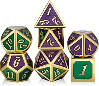 DNDND Metal Game Dice,7PCS Polyhedral Metal Die for DND Role Playing Game Dugeons and Dragons(Green and Indigo with Golden Number)