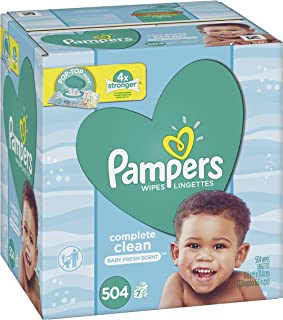 Baby Wipes, Pampers Sensitive Water Baby Diaper Wipes, Complete Clean Scented, 7X Pop-Top Packs, 504 Total Wipes