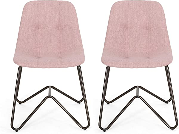 Adela Fabric Dining Chair Light Blush And Bronze