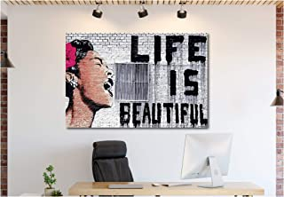 Banksy Art Canvas Wall Art Home Decor Pre-Stretched Canvas (24in x 36in Framed, Banksy - Life is Beautiful)