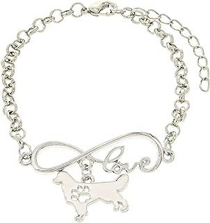 Love Dog Breed Love Charm Dog Paw Silhouette Gift Charm Bracelet Silver-Tone Bracelet Jewelry Box