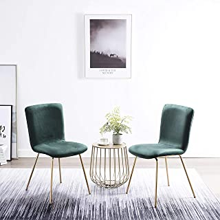 Art-Leon Mid-Century Modern Simple Retro Velvet Fabric Leisure Upholstered Dining Chairs Set of 2 with Golden Metal Legs Accent Side Chairs for Kitchen Living Room Bedroom Office (Green)