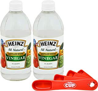Heinz All Natural Distilled White Vinegar 5% Acidity 16 Ounce Glass Bottle (Pack of 2) with By The Cup Swivel Spoons