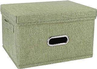 Redmoo Boîte de rangement pliable en lin pour vêtements, vêtements, livres, cosmétiques, jouets (vert, S, 34 x 25 x 18 cm)
