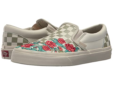 Vans Classics Checkerboard Slip-On Red Rose Embroidery Sneaker