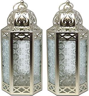 Decorative Candle Lanterns with LED Fairy Lights for Wedding Decor, Large, White Gold, Set of 2