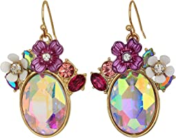 Floral Stone Cluster Drop Earrings