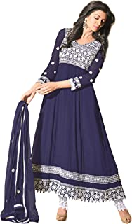 Florence Women's Georgette Straight Salwar Suit Set (SB-1332-Aug2019_Navy Blue_One Size)