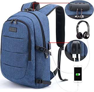 Tzowla Business Laptop Backpack Water Resistant Anti-Theft College Backpack with USB Charging Port and Lock 15.6 Inch Computer Backpacks for Women Men, Casual Hiking Travel Daypack (A-Blue)