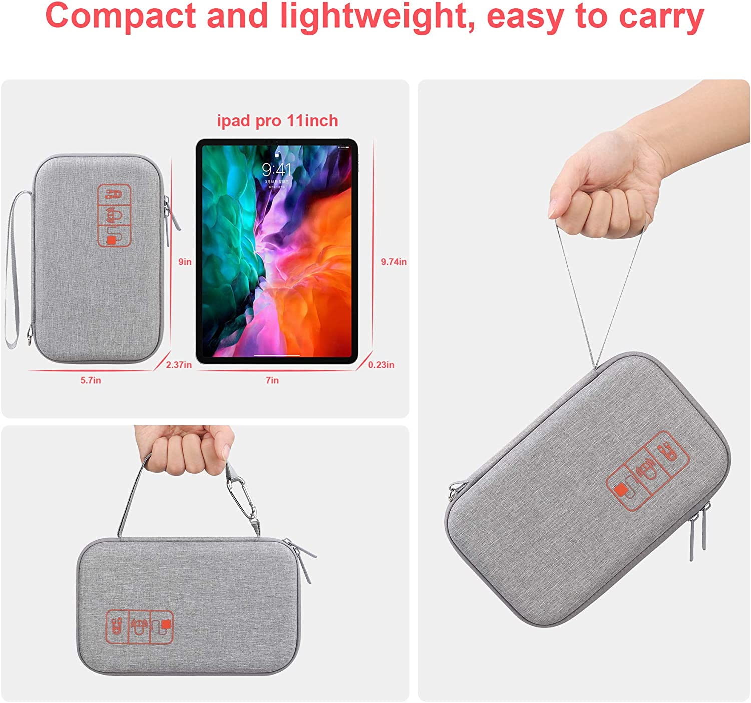 Hard Electronic Organizer Travel Case Electronics Accessories Cable Gadget Wire Storage Bag Double Layer Shockproof Box for Charger, Cord, Flash Drive, Apple Pencil, Power Bank, Grey