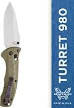 Benchmade - Turret 980, EDC Folding Knife, Drop-Point Blade, Manual Open, Axis Locking Mechanism, Made in USA, Satin, Straight