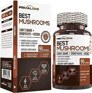 Best Mushrooms w/Lions Mane, Cordyceps Sinensis, Reishi - Nootropic Brain Supplement & Immune System Booster - Premium Mushroom Extracts for Energy, Stress Relief, Focus - 90 Natural Veggie Pills