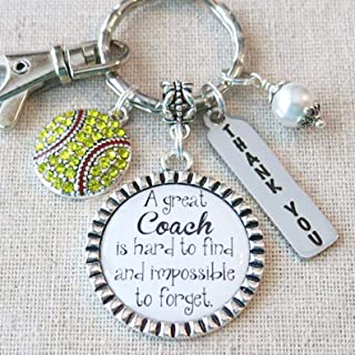 SOFTBALL COACH GIFT, Softball Coach Thank You Keychain, A Great Coach is Hard to Find and Impossible to Forget Gift for Softball Coach, Softball Team Gift for Coach