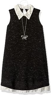 Beautees Girls' Big Solid Collar Rib Stripe Swing Dress