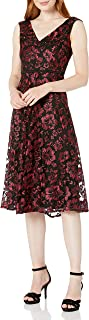 Taylor Dresses Women's Cap Sleeve Floral Lace Dress, red
