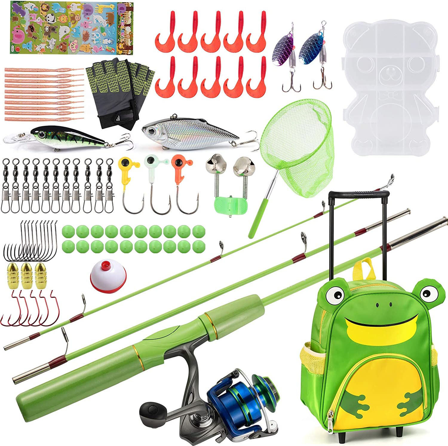 Dr.Fish Kids Fishing Pole and Reel Backpack Milwaukee depot Mall with T Rolling Combo