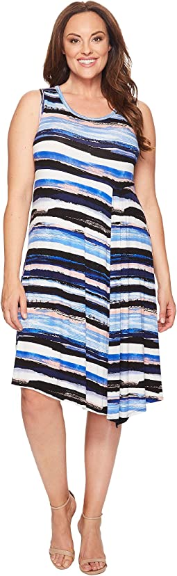 Plus Size Painted Stripe Side Drape Dress