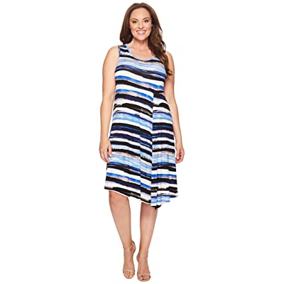 Karen Kane Plus Plus Size Painted Stripe Side Drape Dress (Multicolor) Women