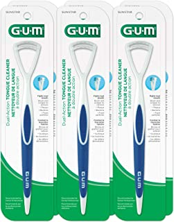 GUM Dual Action Tongue Cleaner Brush and Scraper (Colors May Vary) (Pack of 6)