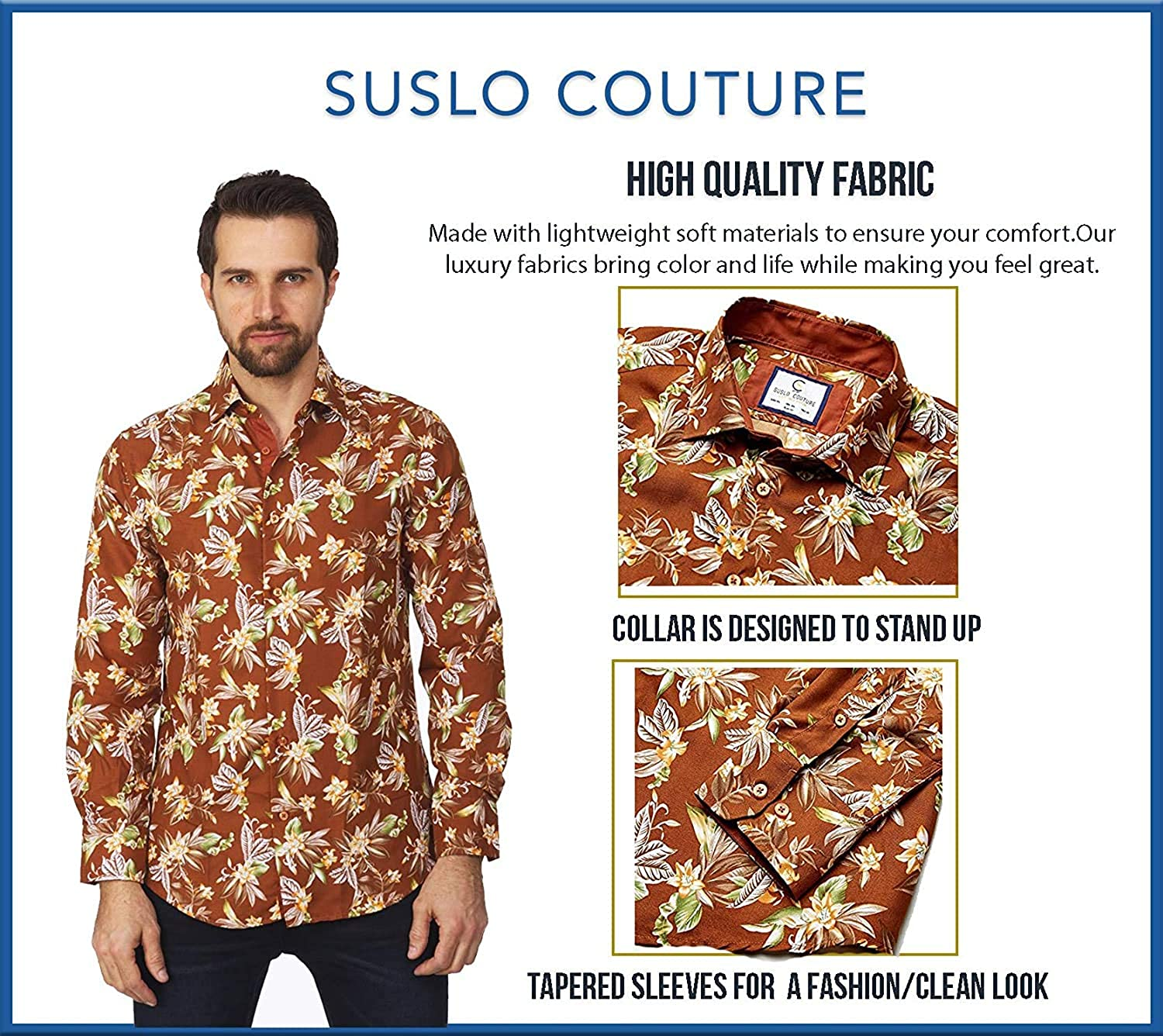 Suslo Couture Men's Floral Printed Long Sleeve Casual Wrinkle-Free Party Button Down Slim Fit Dress Shirts