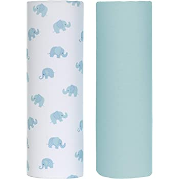 Girl Elephant 2-Pack Touched By Nature Girl Organic Cotton Fitted Crib Sheets