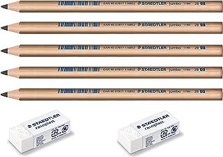 Staedtler Jumbo Children Kindergarten 2B wood Triangular Pencils & Erasers bundle for Beginner easy grip preschool set