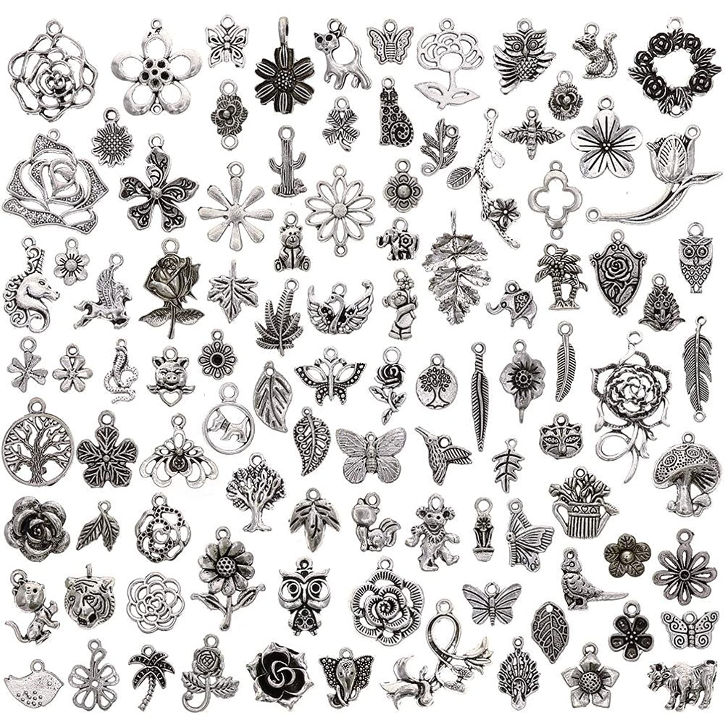 KeyZone Wholesale 100 Pieces Tibetan Silver Plated Mixed Jungle Animal Plant Charms Pendants DIY for Jewelry Making and Crafting