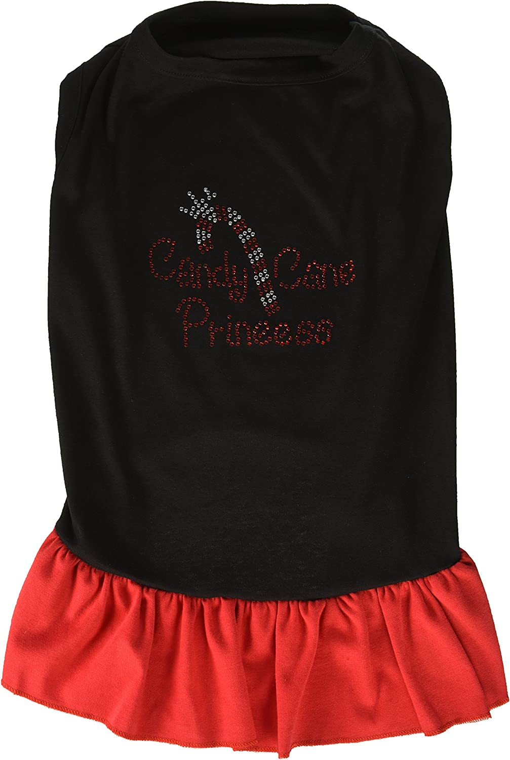 Mirage Pet Products Candy Cane Princess Rhinestone 20Inch Pet Dress, 3XLarge, Black with Red