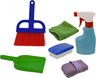 Childrens Cleaning Set - Whisk Broom and Dustpan + Spray Bottle + Cleaning Cloth + Scrub Brush + Sponge. an Ultimate Montessori Gift for a Kid Toy Collection. All Components Really Work!
