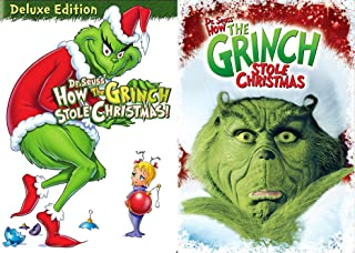 Who's in Whoville? Dr. Seuss' Classic Tale Of The Mean Old Grinch: How The Grinch Stole Christmas (Original Animated) + How The Grinch Stole Christmas (Live Action) DVD Books To Life Movie Bundle
