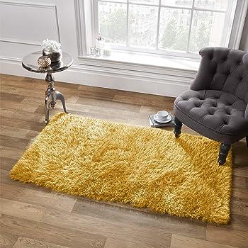 Sienna Alfombra de Pelo Largo de 5 cm, 120 x 170 cm, sintético, poliéster, algodón, Color Amarillo Ocre: Amazon.es: Hogar