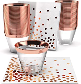 Rose Gold Plastic Cups & Napkins - Set of 60 | Fancy & Fun Disposable Decorations for Birthdays, Wedding Reception, Cocktail & Engagement Parties, Baby & Bridal Showers, Dinners, Catering