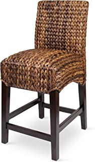 BIRDROCK HOME Bird Rock Seagrass Counter Stool (Counter Height) - Hand Woven Mahogany Wood Frame - Fully Assembled