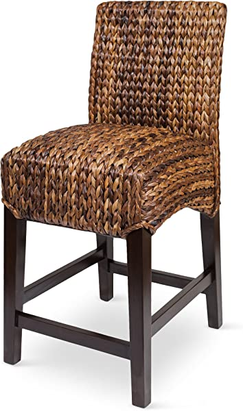 BIRDROCK HOME Bird Rock Seagrass Counter Stool Counter Height Hand Woven Mahogany Wood Frame Fully Assembled